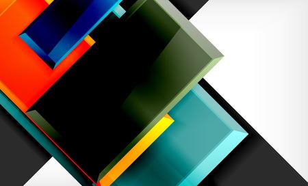 Ilustración de Colorful square and rectangle blocks background, vector geometric abstract design - Imagen libre de derechos