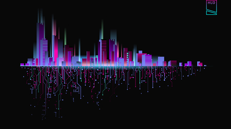 Illustration pour Futuristic city in neon lights. Future City. Neon light. Abstract City - image libre de droit