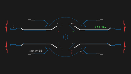 Illustration pour Target Elements interface. A sight on a spaceship. The interface of the future. For Game simulator - image libre de droit