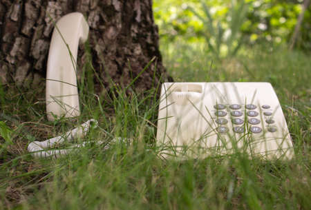 Foto de Communication with nature. Allegory. Close-up of a telephone receiver at the base of a tree. An old telephone can be seen through the grass. Respect for the environment. - Imagen libre de derechos