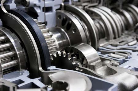 Photo pour Gearbox cross-section, automotive transmission with sprocket and bearing mechanism for commercial trucks, SUV, cargo, and construction vehicles, selective focus - image libre de droit