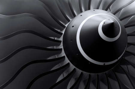 Foto de Turbine blades of turbo jet engine for passenger plane, aircraft concept, aviation and aerospace industry - Imagen libre de derechos