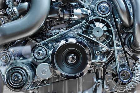 Photo pour Car engine, concept of modern vehicle motor with metal, chrome, plastic parts, heavy industry - image libre de droit
