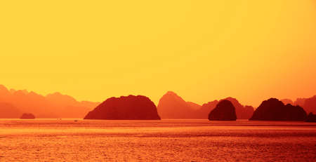 Ha Long Bay at sunset in Vietnam mural