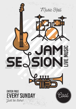 Illustration pour Jam Session Minimalistic Cool Line Art Event Music Poster. Vector Design. Guitar, Drums And Trumpet Icons. - image libre de droit