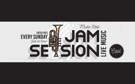 Illustration pour Jam Session Minimalistic Cool Line Art Event Music Website Cover Image. Vector Design. Trumpet Icon. - image libre de droit