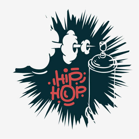 Illustration for Hip Hop  Design  With A Graffiti Spray Can Baloon. Artistic Cartoon Hand Drawn Sketchy Line Art Style. Vector Graphic. - Royalty Free Image