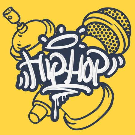 Illustration for Hip Hop Lettering Custom Tag Style Characters With A Microphone And Graffiti Spray Can Baloon. Artistic Cartoon Hand Drawn Sketchy Line Art Style. - Royalty Free Image