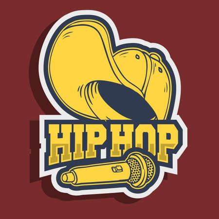 Illustration pour Hip Hop Sticker Design With Baseball Hat Snapback Flexfit And A Mic Microphone - image libre de droit