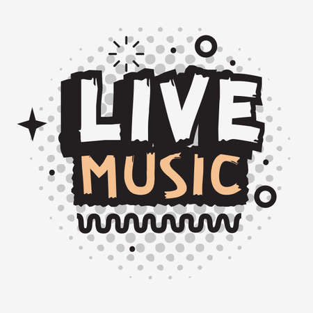 Illustration pour Live Music In The Concert Vector Type Design. - image libre de droit