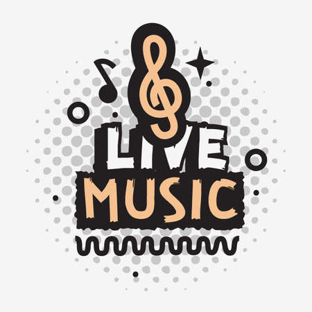 Illustration pour Live Music In The Concert Vector Design With Treble Clef Sign. - image libre de droit