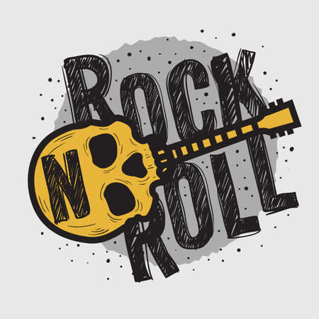 Illustration for Rock Vector Design With Human Skull Bones And A Guitar. - Royalty Free Image