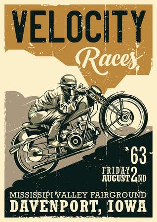 Ilustración de Motorcycle theme vintage poster design with illustration of biker riding on vintage motorcycle - Imagen libre de derechos