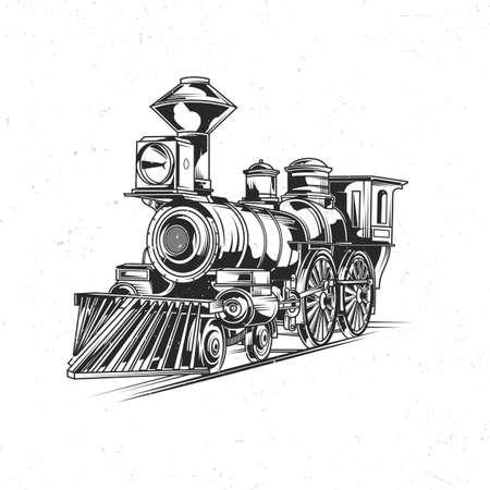 Illustration pour Emblem label design with illustration of classic train - image libre de droit