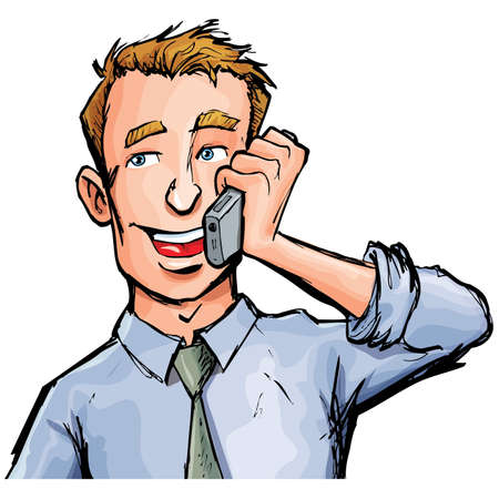 Illustration pour Cartoon office worker on the phone. He is smiling - image libre de droit
