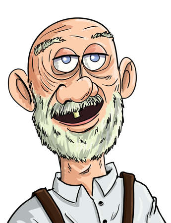 Illustration for Cartoon old man with one tooth. Isolated - Royalty Free Image