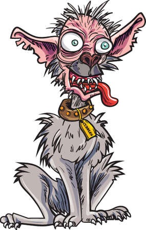 Illustrazione per Cartoon very ugly dog. Isolated on white - Immagini Royalty Free