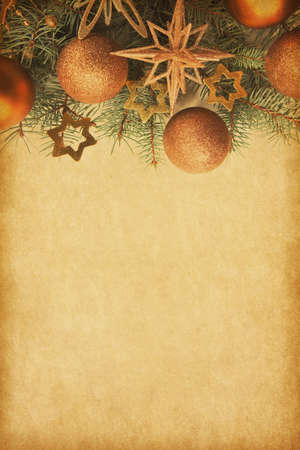Photo for Beige paper background with Christmas border. - Royalty Free Image