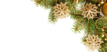 Photo for Fir branch with Christmas decorations   isolated on white background - Royalty Free Image
