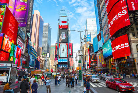 Foto für New York City, United States - November 2, 2017:   Crowds gather in Times Square at day time. Tourist intersection of neon art and commerce and is an iconic place of New York City. - Lizenzfreies Bild