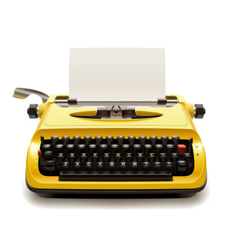 Illustration for Yellow vintage typewriter with a blank sheet of paper - Royalty Free Image