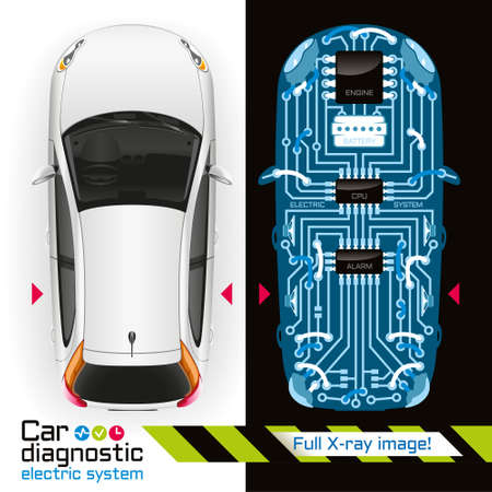 Photo pour Diagnosis of electrical components of the car in the form of printed circuit board is illuminated by X-rays. - image libre de droit