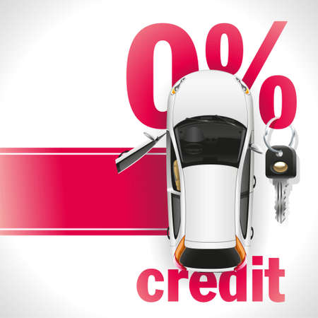 Illustration pour New white car with open front door standing on the red carpet. Against the background of a red font written zero interest rate on the loan. On the percent symbol hanging black ignition key. - image libre de droit