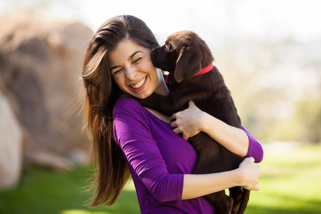 Photo for Cute Hispanic woman getting kissed and licked by her brown Labrador - Royalty Free Image