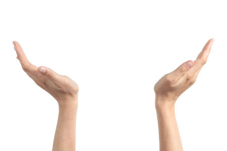 Photo pour Woman hands with palms up holding something isolated on a white background - image libre de droit