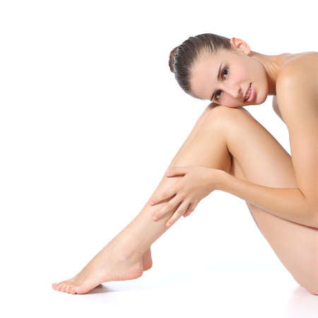 Photo pour Beautiful perfect woman posing with long legs isolated on a white background                  - image libre de droit