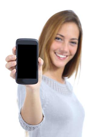 Foto de Happy pretty woman showing a blank smart phone screen isolated on a white background                 - Imagen libre de derechos