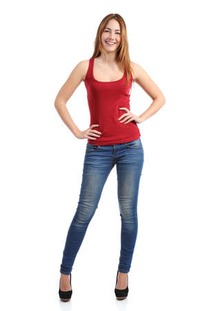 Foto de Front view of a beautiful standing woman model posing isolated on a white background               - Imagen libre de derechos