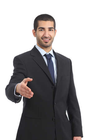 Photo for Arab businessman smiling ready to handshake isolated on a white background - Royalty Free Image