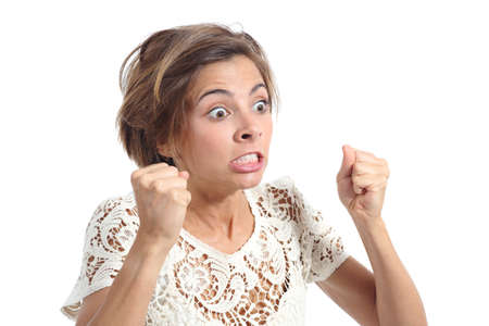 Photo for Angry crazy woman with rage expression isolated on a white background - Royalty Free Image