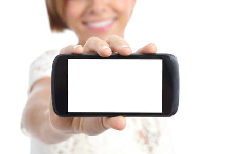 Photo for Closeup of a girl hand showing a horizontal blank smartphone screen isolated on a white background - Royalty Free Image