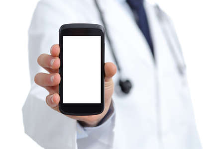 Photo pour Doctor hand showing a blank smart phone screen app isolated on a white background - image libre de droit