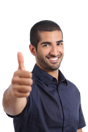 Photo for Positive arab man gesturing thumbs up isolated on a white background - Royalty Free Image
