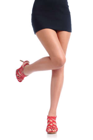 Photo pour Smooth woman legs with high heels hair removal concept isolated on a white background - image libre de droit