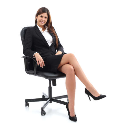 Photo pour Executive business woman sitting on a chair isolated on a white background - image libre de droit