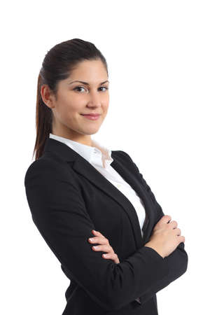 Foto de Portrait of a confident businesswoman isolated on a white background - Imagen libre de derechos