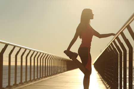 Foto de Runner silhouette doing stretching exercises at sunset in a bridge on the beach - Imagen libre de derechos