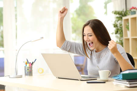 Photo pour Euphoric winner watching a laptop on a desk winning at home - image libre de droit