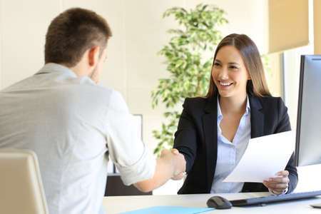 Photo for Successful job interview with boss and employee handshaking - Royalty Free Image