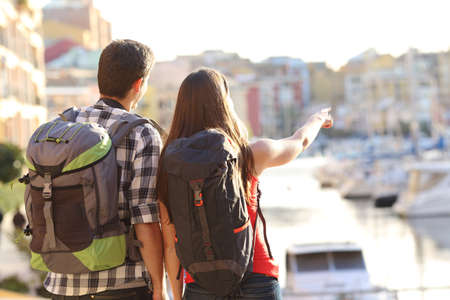 Foto per Back view of a couple of tourists sightseeing in a travel destination with a port with colorful buildings in the background - Immagine Royalty Free