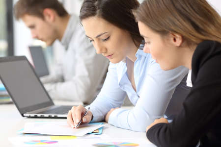 Foto de Close up of two concentrated employees coworking analyzing data in paper documents at office - Imagen libre de derechos