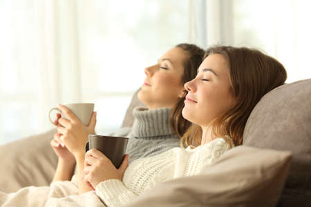 Foto de Side view portrait of two roommates relaxing in winter sitting on a sofa in the living room in a house interior - Imagen libre de derechos