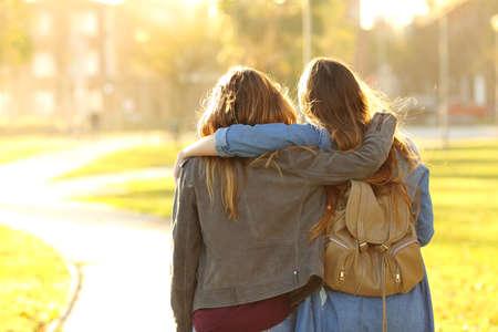 Photo pour Back view portrait of two affectionate friends walking at sunset in a park - image libre de droit