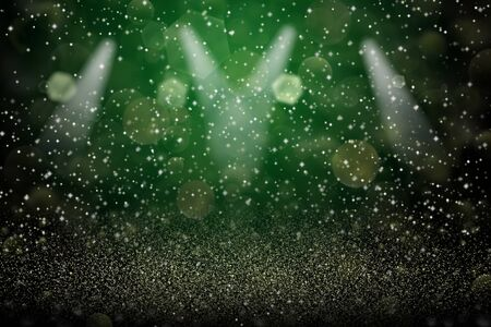 Photo for pretty shining abstract background stage spotlights with sparks fly defocused bokeh - festive mockup texture with blank space for your content - Royalty Free Image