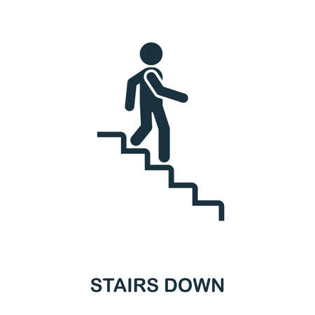 Ilustración de Stairs Down icon. Line style icon design. UI. Illustration of stairs down icon. Pictogram isolated on white. Ready to use in web design, apps, software, print - Imagen libre de derechos