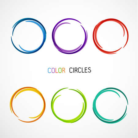 Illustration pour Six Color circles set - image libre de droit